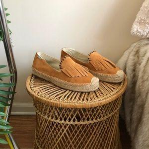 Soludos Camel Suede Fringe Espadrille Loafers 7